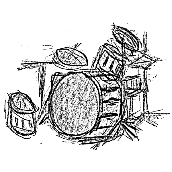 Sketch of a drum set