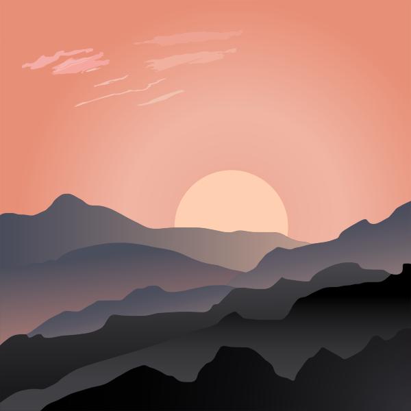 Sun hiding behind mountain