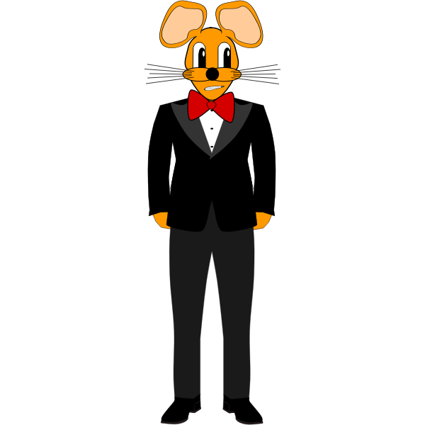 2D humanoid mouse in a tuxedo vector drawing