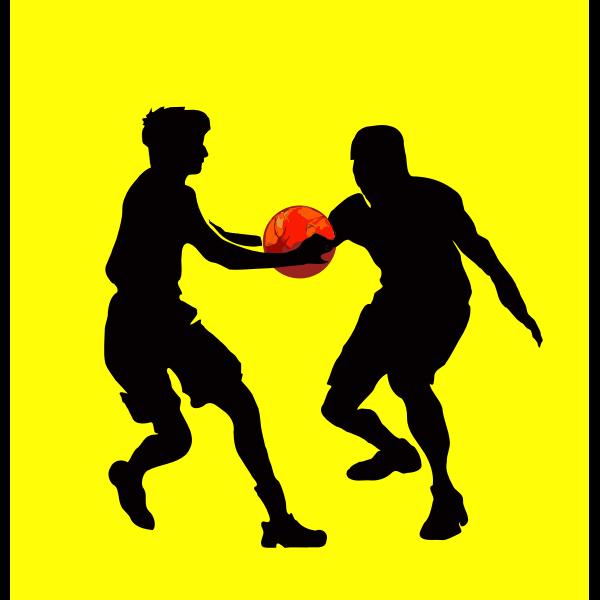 Basketball game scene silhouette vector image