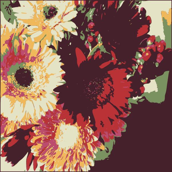 Birthday flowers color art