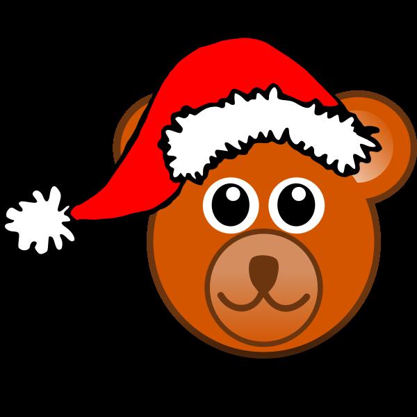 Teddy bear with Christmas hat vector image