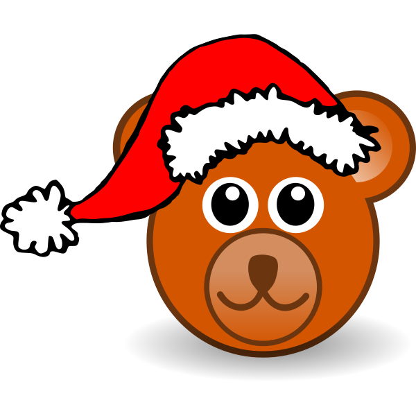 Christmas Hat Vector Png.Teddy Bear With Christmas Hat Vector Image Free Svg