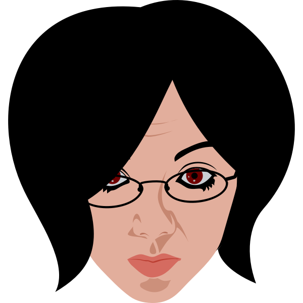 Girl face with glasses