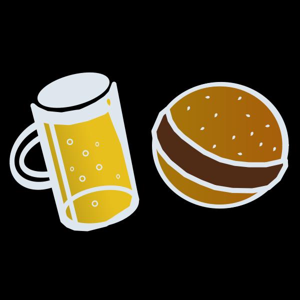 Beer and hamburger