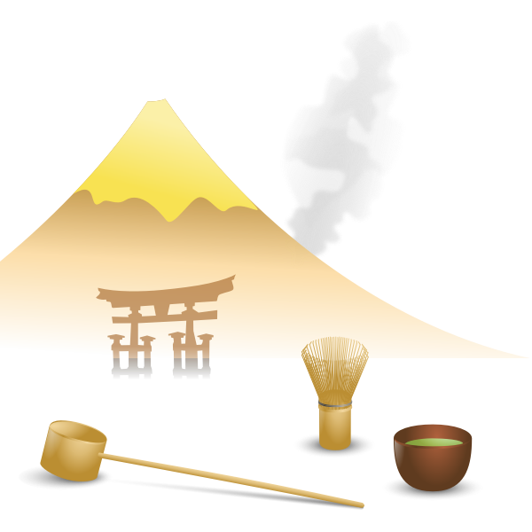Japanese tea scene vector drawing