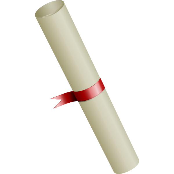Vector image of university degree diploma with a ribbon