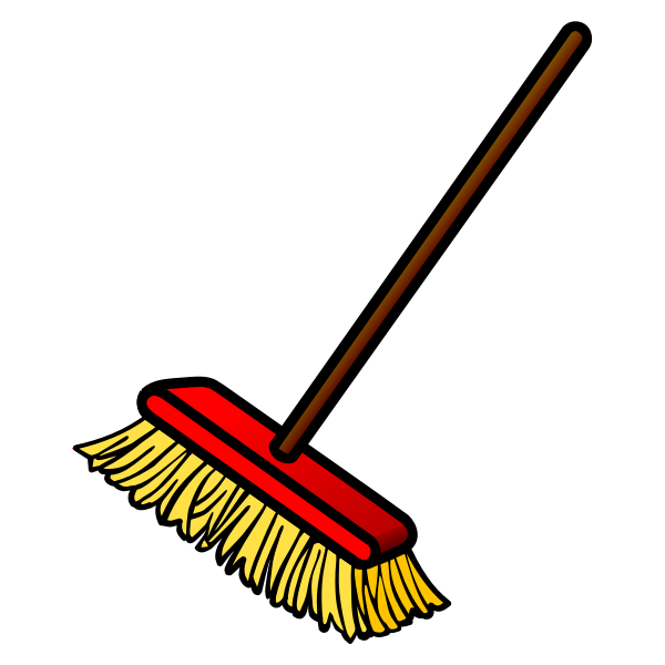 Vector drawing of red and yellow broom