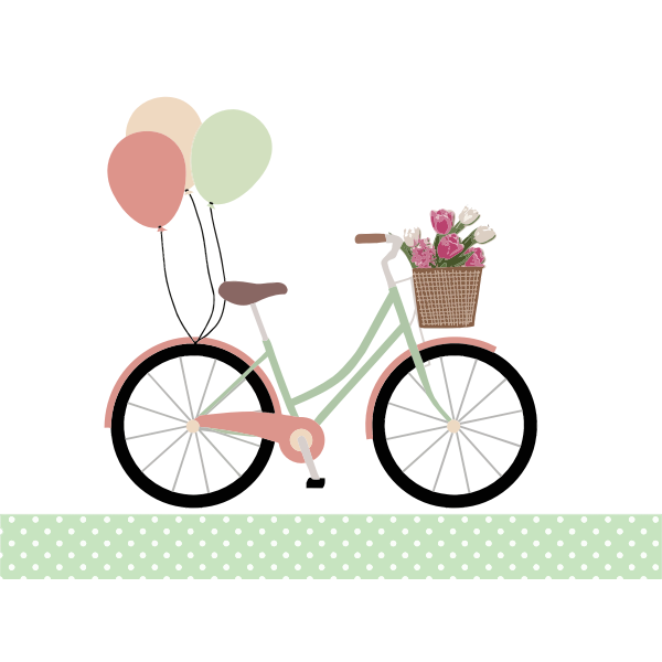 Bicycle with balloons color graphics