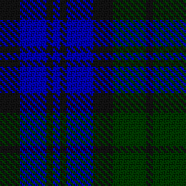 Twill plaid in blue, green and black