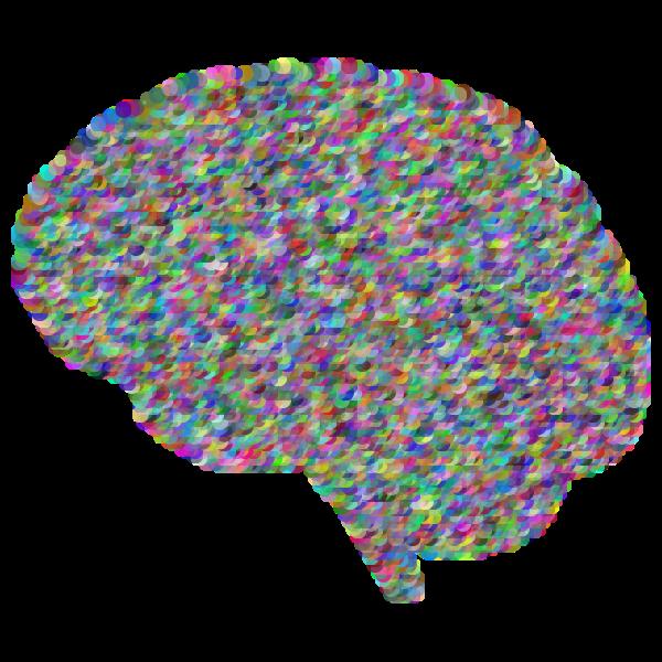 Human brain silhouette prismatic pattern