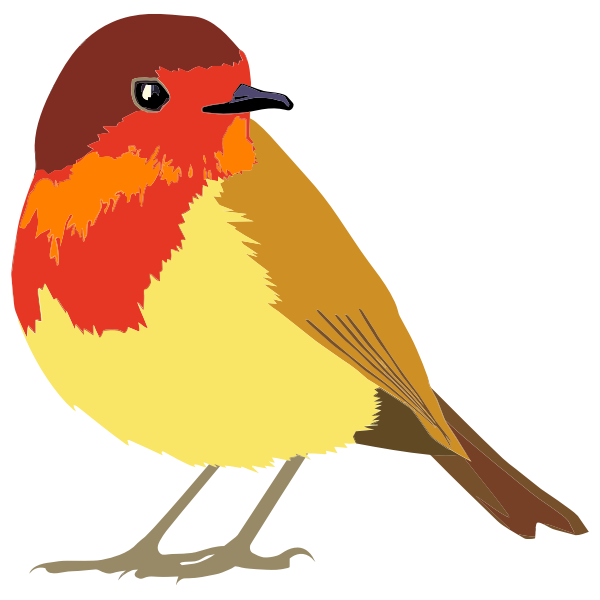 Graphics of red and brown bird