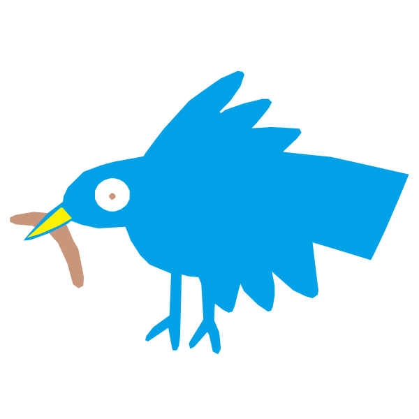 Cute fluffy bird color graphics