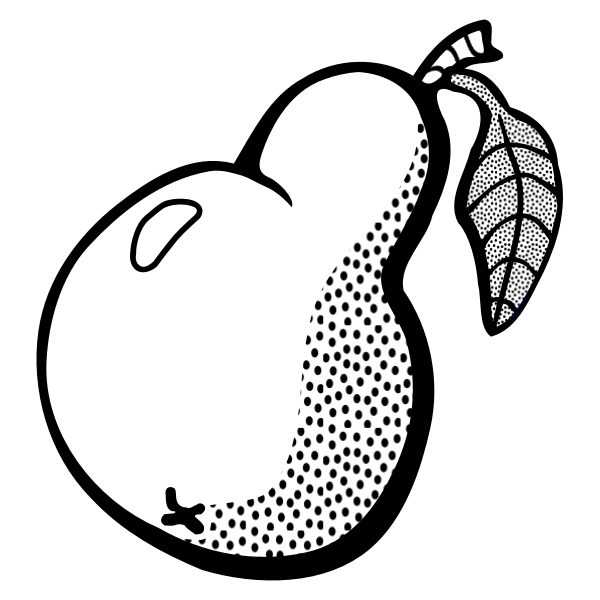 Vector graphics of pear with leaf