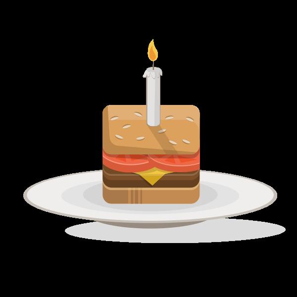 Birthday burger vector clip art