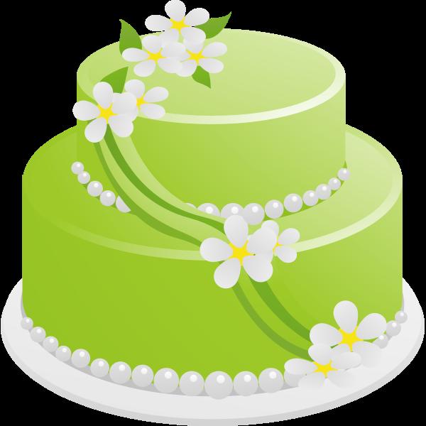 Vector drawing of green birthday cake