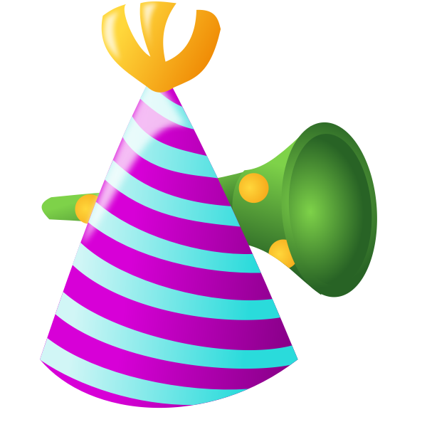 Color birthday hat and trumpet vector image