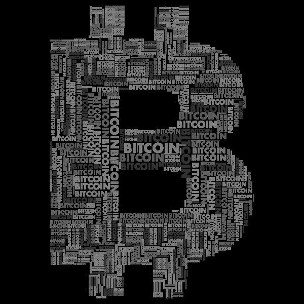 Bitcoin Logo Word Cloud Grayscale - Free SVG