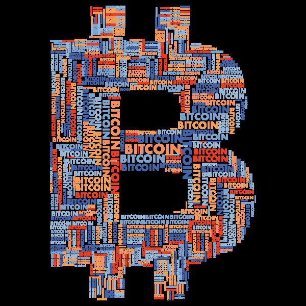 Bitcoin Logo Word Cloud No Background