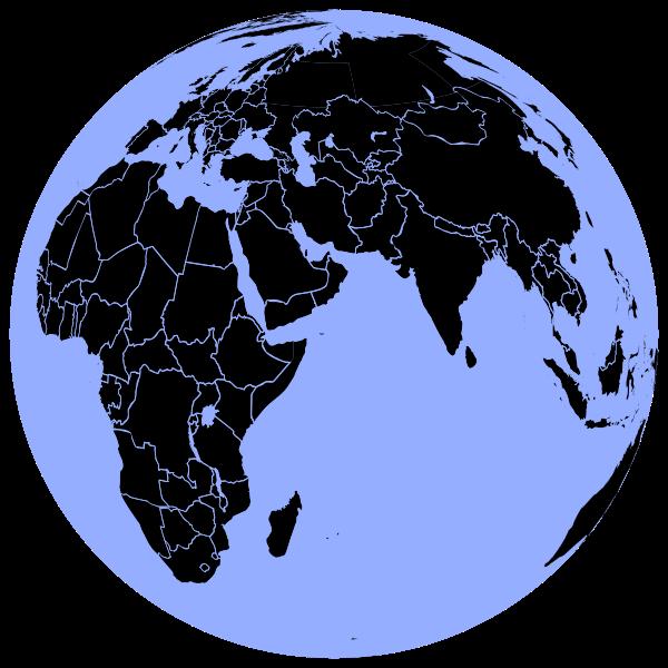 Black and blue globe
