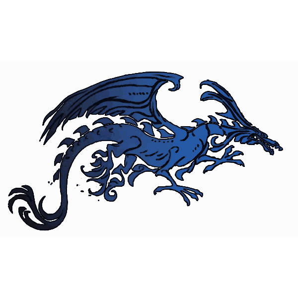 Black Blue Dragon Vector EDIT
