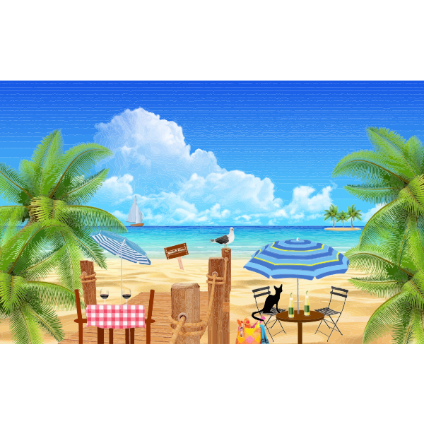 Black cat at the beach