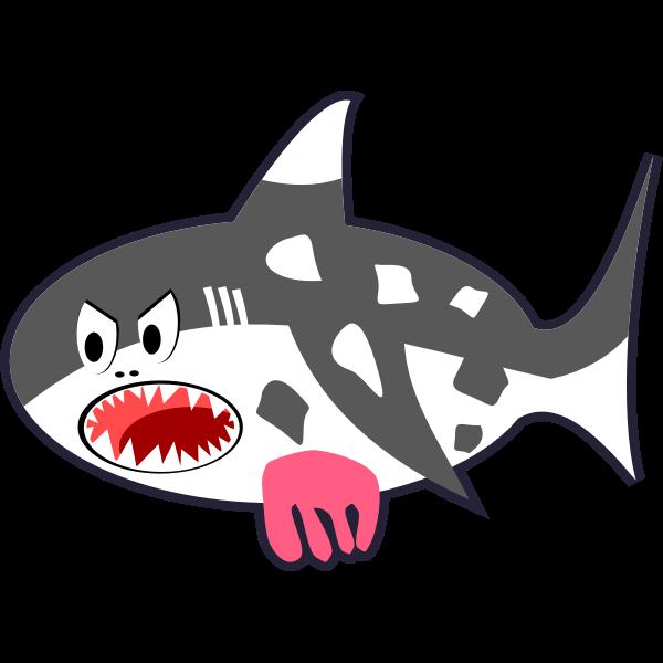 Black White Red Cartoon Shark Cow