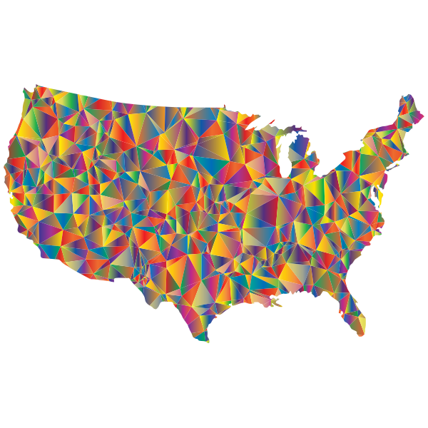 Blended Colorful Low Poly America USA Map