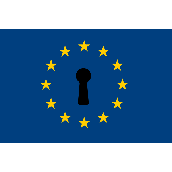 European Union flag with a keyhole