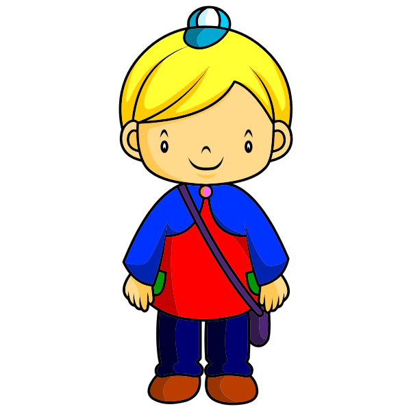 Blond child with bag