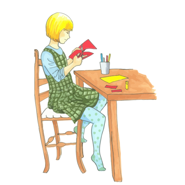 Blonde girl doing Crafts At A Table