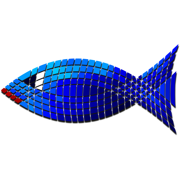 Vector image of tiled blue fish