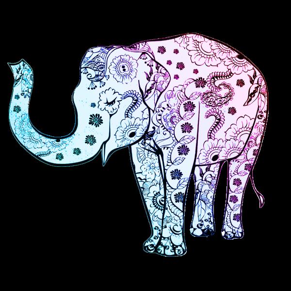 Blue floral elephant vector graphics