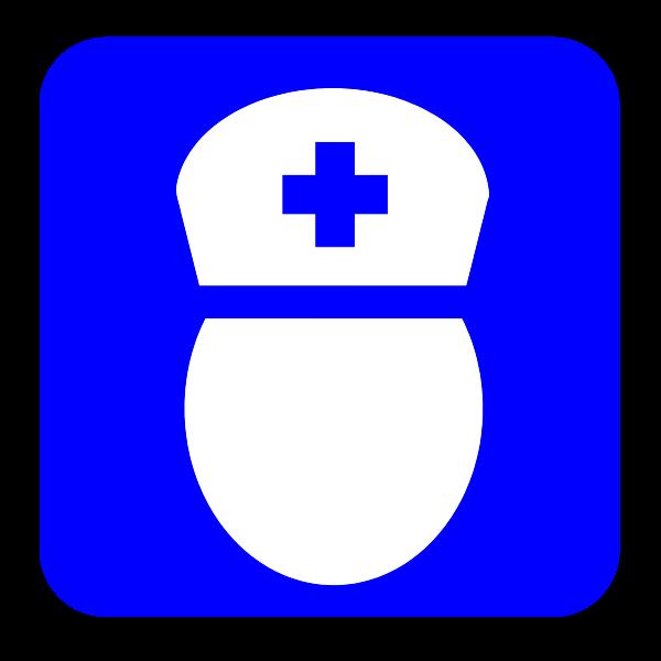 Blue nurse symbol