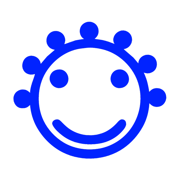 Blue smiley icon face vector drawing