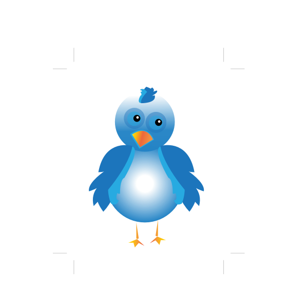 Cartoon style blue bird created image