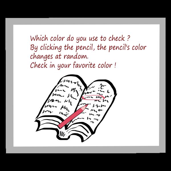 Red pencil mark in book