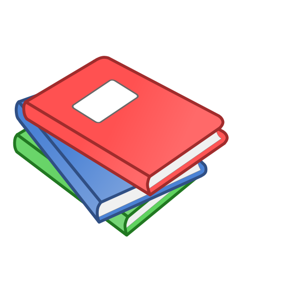 Clip art of stack of three books with labels