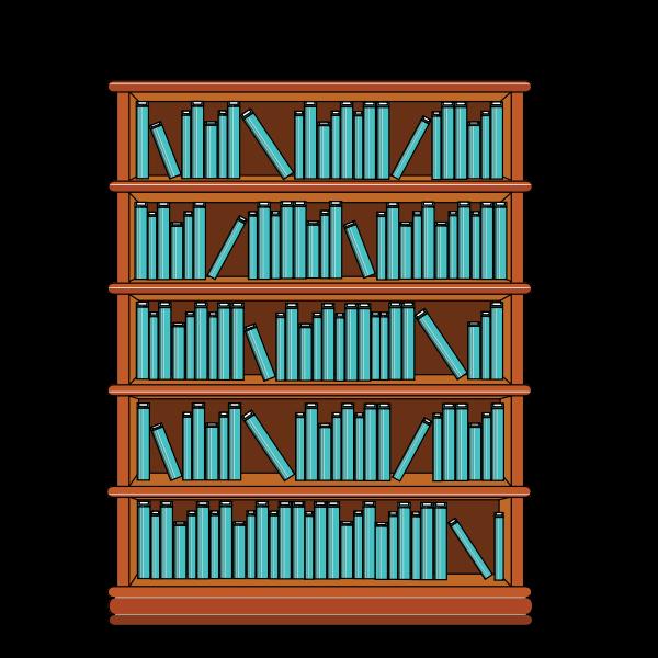 Bookshelf with blue books