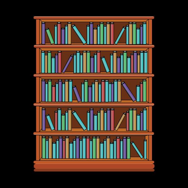 Bookshelf with books image