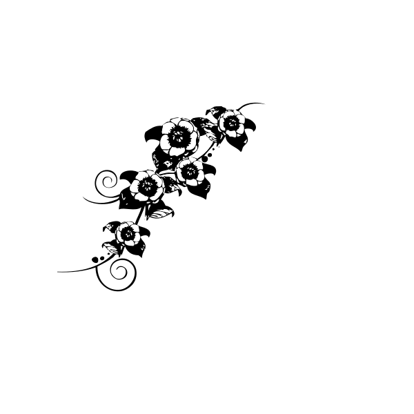 Black and white vector image of wall decoration
