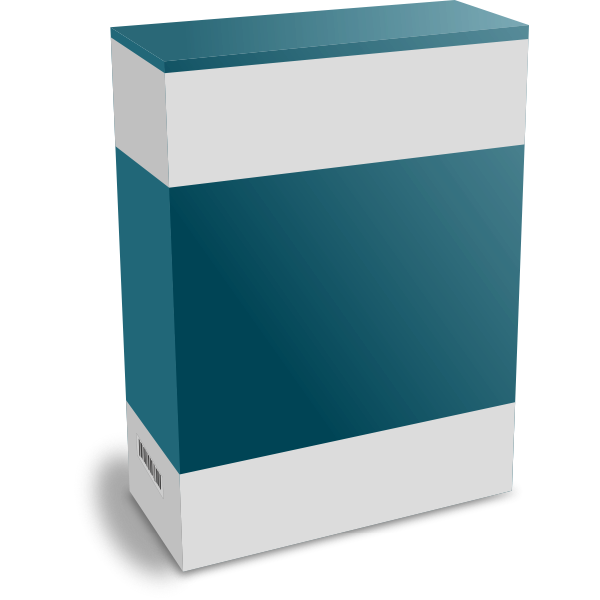 Vector image of dark green software packaging box