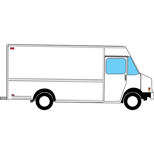 vector illustration of box truck from side