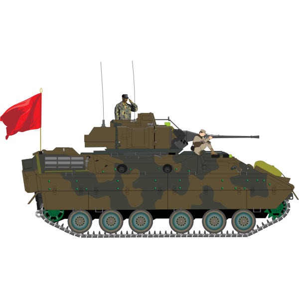 Armored vehicle with soldiers