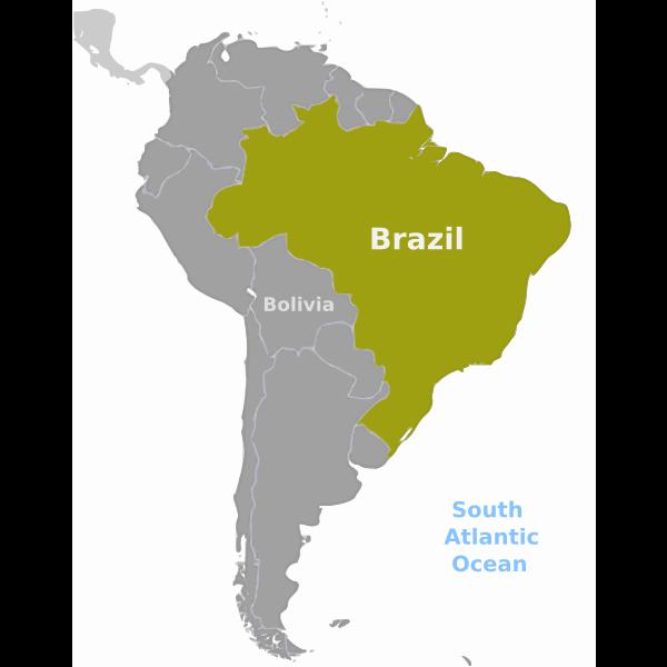 Brazil location map vector image