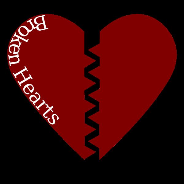 Broken heart with black border vector image