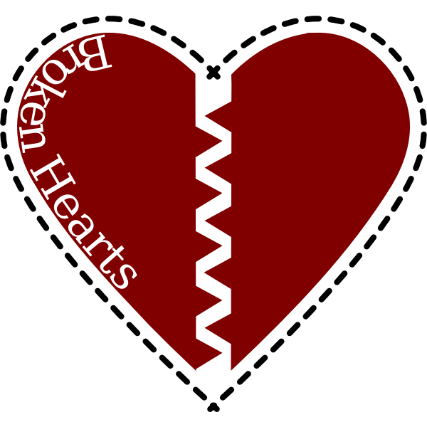 Broken heart with black border vector image