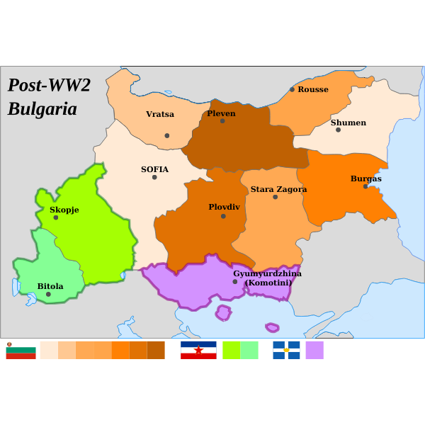 Map of Republic of Bulgaria after World War 2 vector drawing