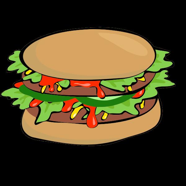 Burger with salad and ketchup