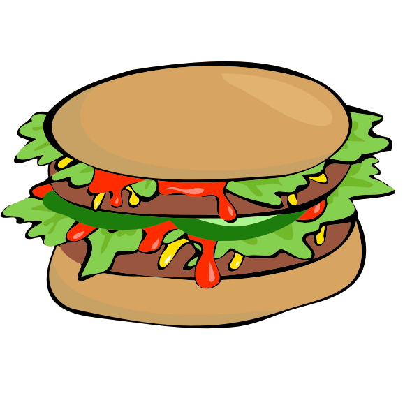 Burger with salad and ketchup